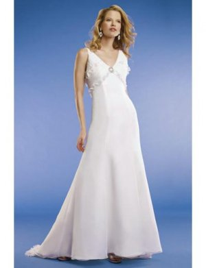 A-Line/Princess V-neck Chapel train Chiffon wedding dress for brides new Style(WED0064)