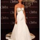 A-Line/Princess Strapless Chapel Train Satin wedding dress (SEW0012)