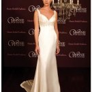 A-Line/Princess V-neck Chapel Train Satin wedding dress(BST0014)