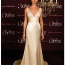 A-Line/Princess V-neck Chapel Train Satin wedding dress(SEW0016)
