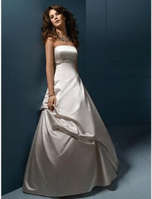 A-Line/Princess Strapless Chapel Train Satin wedding dress (SEW0002)