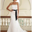 A-Line/Princess Sleeveless Chapel Train Sash wedding dress (SEW0036)