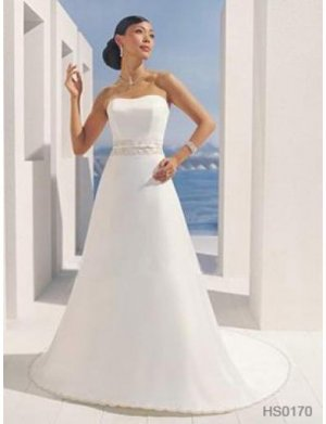 A-Line/Princess Strapless Chapel Train Satin wedding dress (SEW0032)