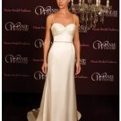 A-Line/Princess Spaghetti Straps Chapel Train Satin wedding dress (SEW0022)