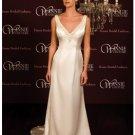 A-Line/Princess V-neck Chapel Train Satin wedding dress (SEW0023)
