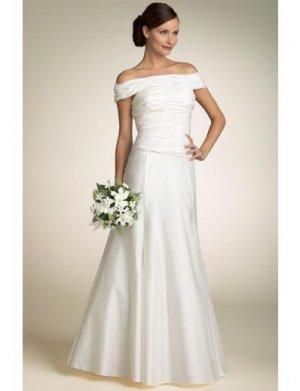 A-line/Princess off-The-shoulder Floor Length Satin wedding dress(SEW0660)
