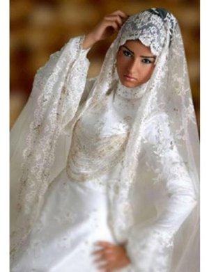 New sexy Prom/Ball/Evening Islamic Wedding Dress(MSL027) Custom Size  voile&satin