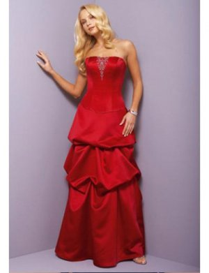 A-Line Strapless Floor Length Satin Prom Dress(PDS0065)