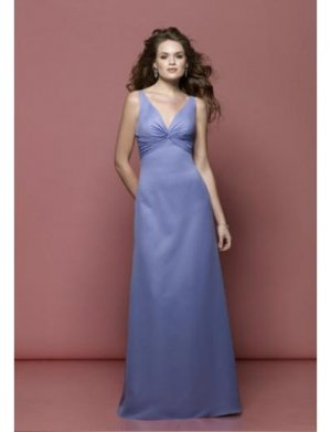 Empire V-neck Floor Length Satin Prom Dress(PDS0047)  for Women's Clothing