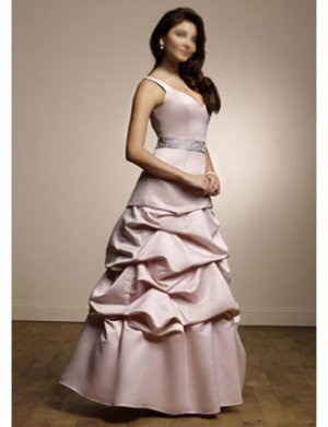 A-Line V-neck Floor Length Satin Prom Dress(PDS0082) for Women's Clothing