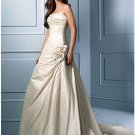 A-Line/Princess Strapless Chapel Train Taffeta wedding dress (WS0033)