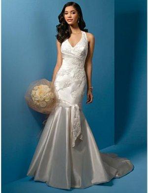 A-Line/Princess halter top Chapel Train Satin wedding dress (WS0019)