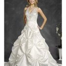 A-Line/Princess Halter top Chapel Train Satin wedding dress (WD6400)