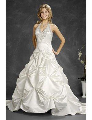 A-Line/Princess Halter top Chapel Train Satin wedding dress (WD6400)
