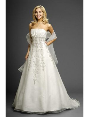 A-Line/Princess Strapless Chapel Train Chiffon wedding dress (WD9632)
