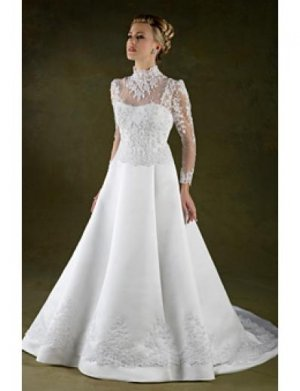 A-Line/Princess high-neck Chapel Train Satin wedding dress for brides new style(WDA1779)