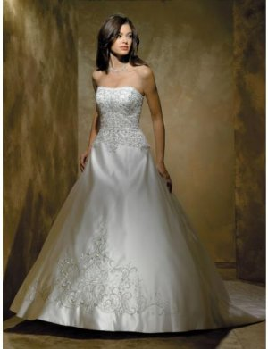 A-Line/Princess Strapless Chapel Train Satin wedding dress for brides new style(WDA1789)