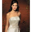 A-Line/Princess Strapless Chapel Train Satin wedding dress for brides new style(WDA1788)
