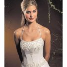 A-Line/Princess Halter Top Chapel Train Satin wedding dress for brides new style(WDA1786)