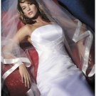 A-Line/Princess Strapless Chapel train Satin wedding dress (SEW0828)