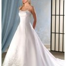 A-Line/Princess spaghetti straps Chapel train Satin wedding dress for brides new Style(WDA0058)