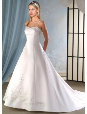 A-Line/Princess spaghetti straps Chapel train Satin wedding dress for brides new Style(WDA0058)