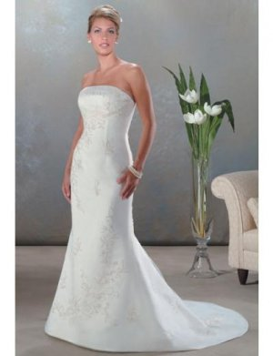 A-Line/Princess Strapless Chapel train Satin wedding dress for brides new Style(WDA0050)
