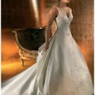 A-Line/Princess V-neck Cathedral train Satin wedding dress for brides new Style(WDA1655)