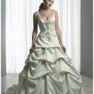 A-Line/Princess V-neck Chapel Train Taffeta wedding dress for brides new style(WDA0090)