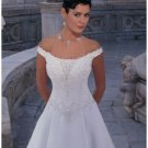 A-Line/Princess Off-the-shoulder Cathedral Train Satin wedding dress for brides new Style(WDA1652)