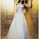 A-Line/Princess Strapless Chapel train Satin wedding dress for brides new Style(WDA1650)