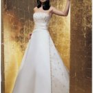 A-Line/Princess Strapless Chapel train Satin wedding dress for brides new Style(WDA1649)