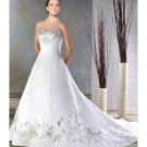 A-line/Princess strapless Chapel Train Satin wedding dress for brides new style(DWA0062)