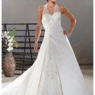 A-Line/Princess Halter Top Cathedral Train Satin wedding dress for brids gowns new style(WDA0028)