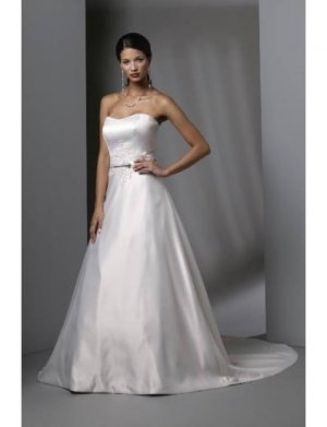 A-Line/Princess Strapless Cathedral train Satin wedding dress for brides gowns new style(WDA0083)