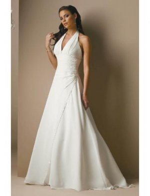 A-Line/Princess V-neck Halter Top Chapel Train Satin wedding dress for brides gowns new (WDA1670)