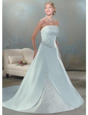 A-Line/Princess Strapless Chapel Train Satin wedding dress for brides gowns new style(WDA0040)