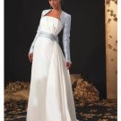 A-Line/Princess Strapless Chapel Train Stain wedding dress (SEW1591) for bridal gowns