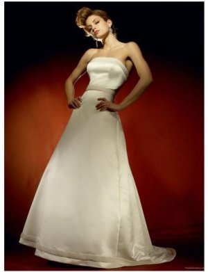 A-Line/Princess Strapless Chapel Train Satin wedding dress for brides gowns new style(WDA0635)