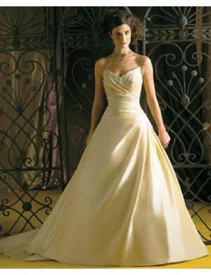 A-Line/Princess V-Neck Chapel Train Satin wedding dress for brides gowns new style(WDA0194)