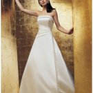 A-Line/Princess Strapless Chapel Train Satin wedding dress for brides gowns new style(WDA1872)