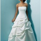 A-line/Princess Strapless Chapel Train Satin wedding dress for brides gowns new style(WDA1537)