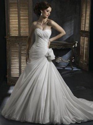 A-Line/Princess Strapless Knee-Length Lace wedding dress for brides gowns new Style(WDS0018)