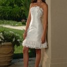 A-Line/Princess Strapless knee-length Satin wedding dress for brides 2010 style(WDS0006)