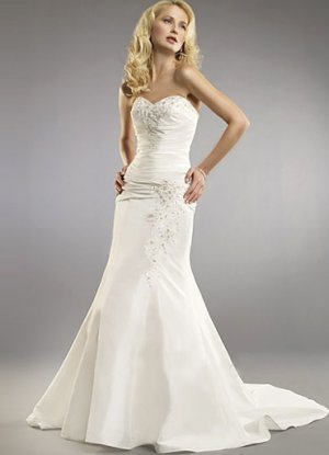 White Mermaid Trumpet Strapless Sweetheart Sweep Taffeta Wedding Dress(y0918015)