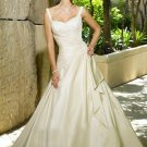 Ivory A-line V-Neck Beading Taffeta Pongee Wedding Dress(y0918016)