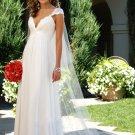 Cap Sleeves Empire Waist V-Neck Chiffon Wedding Dress(y0918023)