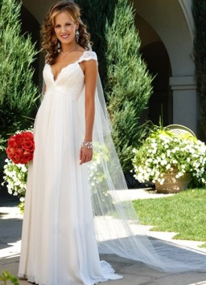Cap Sleeves Empire Waist V-Neck Chiffon Wedding Dress(y0918023)