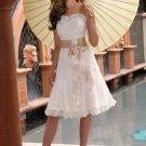 Sash Satin Lace Organdie Mini Wedding Dress(y0918028)