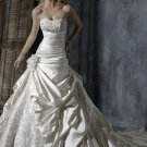 A-Line/Princess Strapless Chapel Train Satin wedding dress(y0907002)